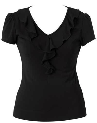 Picture of NNT Uniforms-CAT48H-BKP-Cap Sleeve Ruffle Neck T-Top