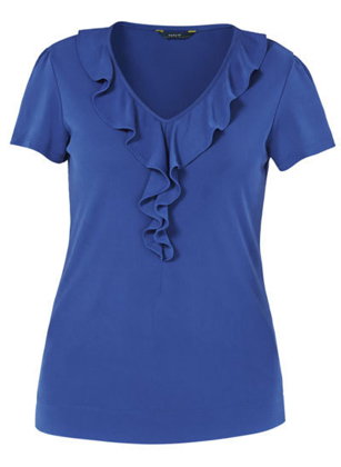 Picture of NNT Uniforms-CAT48H-COP-Cap Sleeve Ruffle Neck T-Top
