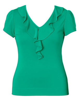 Picture of NNT Uniforms-CAT48H-EMP-Cap Sleeve Ruffle Neck T-Top