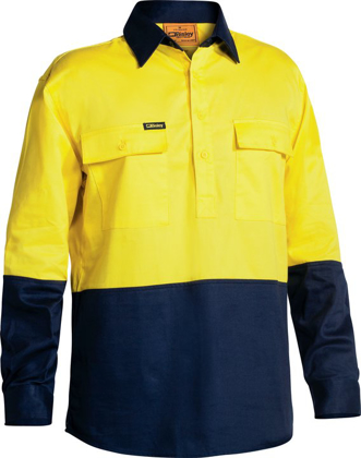 Picture of Bisley Workwear-BSC6267-Closed Front Hi Vis Drill Shirt Long Sleeve