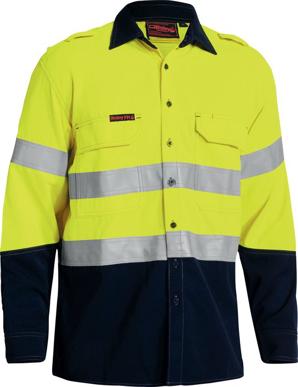 Picture of Bisley Workwear-BS8082T-Tencate Tecasafe® Plus 700 Taped Hi Vis Fr Vented Shirt Long Sleeve
