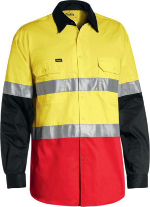 Picture of Bisley Workwear-BS6697T-3M Taped Cool Lightweight Hi Vis Shirt Long Sleeve