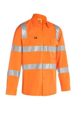 Picture of Bisley Workwear-BS6016T-Taped Biomotion Cool Lightweight Hi Vis Shirt Long Sleeve