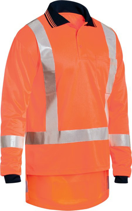Picture of Bisley Workwear-BK6805T-Taped Ttmc-W Hi Vis Cool Vented Polyester Micromesh Polo Long Sleeve