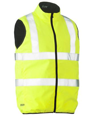 Picture of Bisley Workwear-BV0330HT-Taped Hi Vis Reversible Puffer Vest (Shower Proof)
