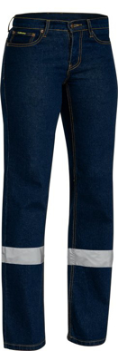 Picture of Bisley Workwear-BPL6712T-Womens 3M Taped Rough Rider Denim Stretch Jean