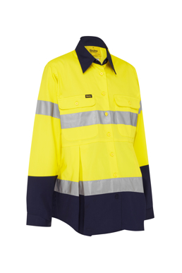 Picture of Bisley Workwear-BLM6456T-Womens 3M Taped Hi Vis Maternity Drill Shirt