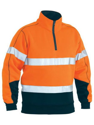 Picture of Bisley Workwear-BK6989T-Taped Hi Vis Fleece Zip Pullover
