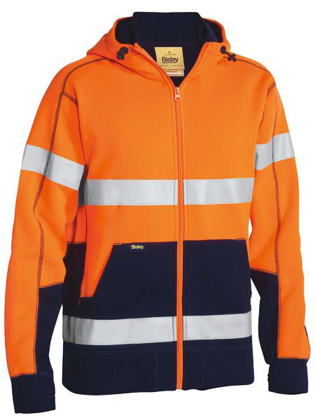 Picture of Bisley Workwear-BK6988T-Taped Hi Vis Fleece Hoodie With Sherpa Lining