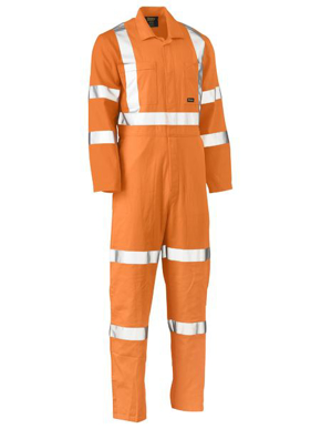 Picture of Bisley Workwear-BC6316XT-X Taped Hi Vis Lightweight Drill Rail Coverall