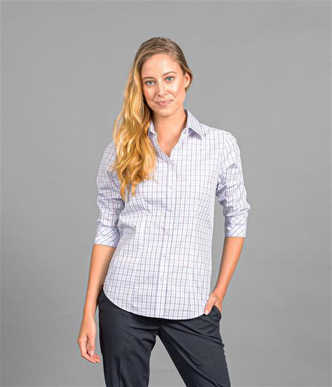 Picture of Gloweave-1897WZ-WOMEN'S TONAL CHECK 3/4 SLEEVE SHIRT-KENSINGTON