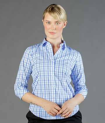 Picture of Gloweave-1711WL-WOMEN'S TONAL CHECK 3/4 SLEEVE SHIRT-FOXTON