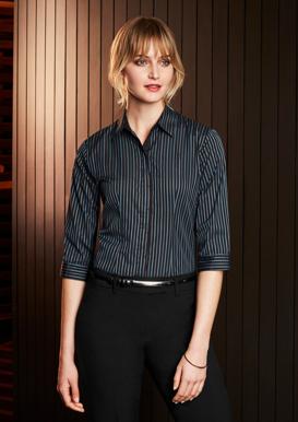 Picture of Biz Collection-S415LT-Ladies Reno Stripe 3/4 Sleeve Shirt