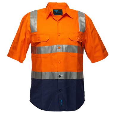 Picture of Prime Mover-MS102-Hi-Vis Two Tone Regular Weight Shirt with Tape Over Shoulder