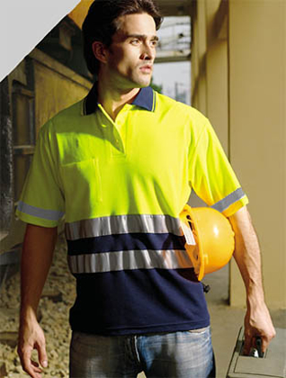 Picture of Bocini-sp1249-Unisex Adults Hi-Vis Polyface / Cotton back Polo With 3M Reflective Tape
