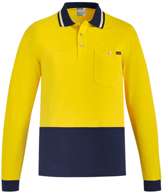 Picture of Syzmik Workwear-ZH430-Mens Hi Vis Cotton L/S Polo