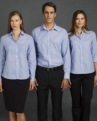 Picture of Identitee-W42(Identitee)-Ladies Long Sleeve Corporate Stripe Shirt