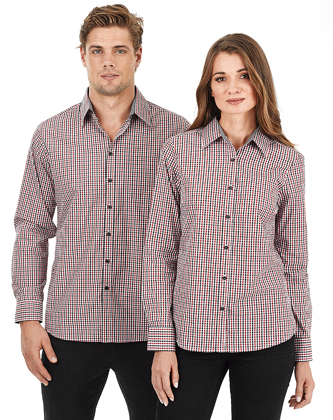 Picture of Identitee-W54(Identitee)-Men's Long Sleeve Double Gingham Check Shirt