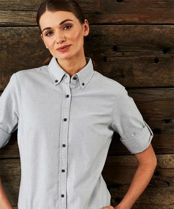 Picture of Identitee-W67(Identitee)-Ladies 3\4 Sleeve Garment Washed Oxford Shirt